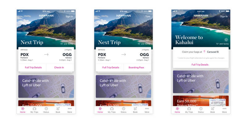 Hawaiian airlines app personalized homescreen