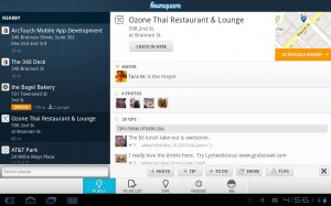 Foursquare for Android Sony Tablet