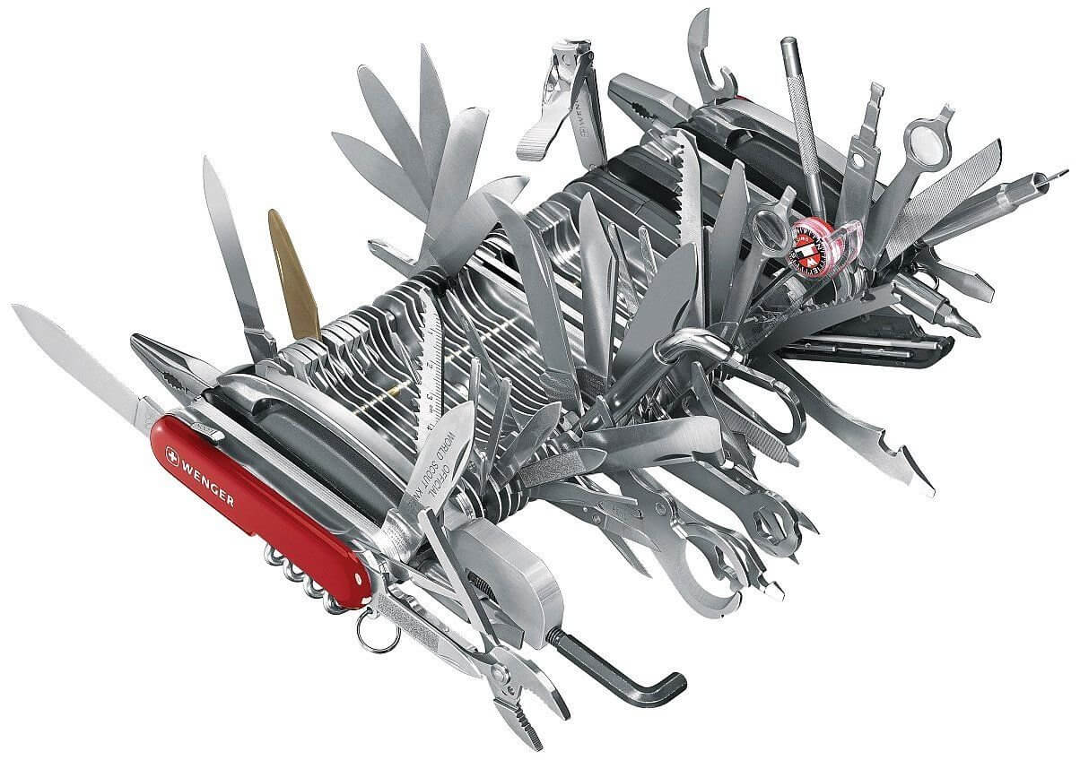Picture of a crazy Swiss Army Knife with dozens of tools