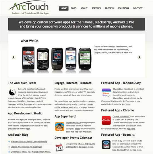 ArcTouch.com Homepage 2009