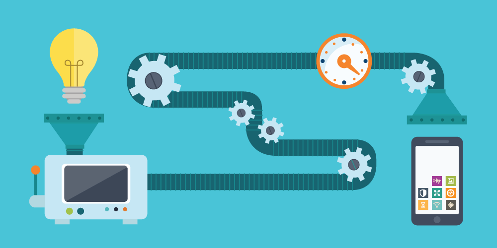 mobile app prototyping production process as a conveyor belt