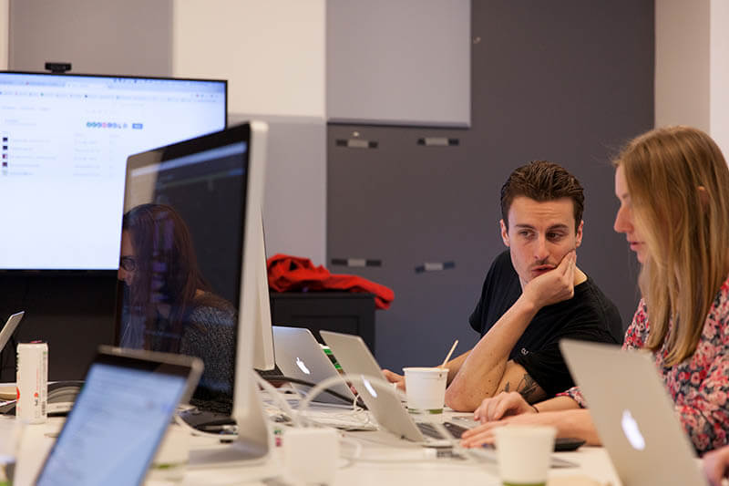 man and woman hackathon
