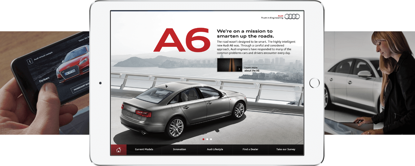 Screenshots of Audi A6 app developed by ArcTouch