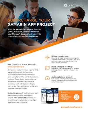 ArcTouch Xamarin Accelerator Program for Windows Developers