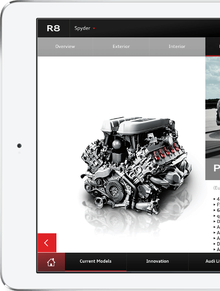 Engine in Audi A6 app by ArcTouch