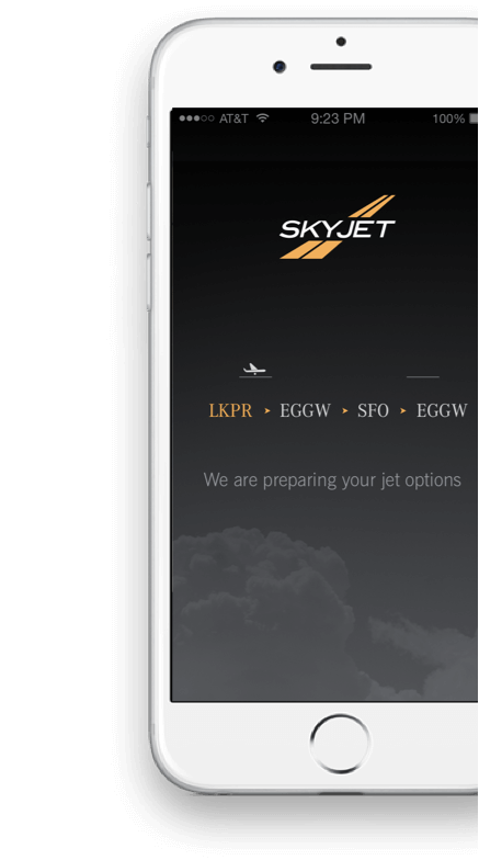 iPhone with Skyjet app from ArcTouch