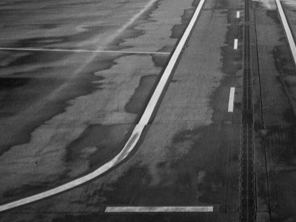 Airport runway after rain