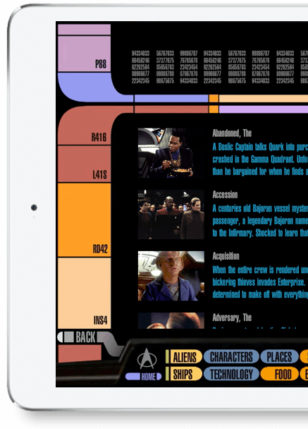 CBS Star Trek PADD app user interface