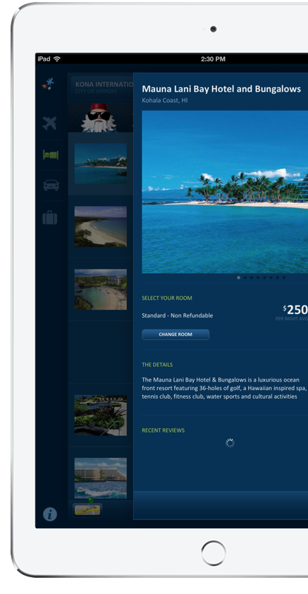 Island destination on Travelocity app from ArcTouch