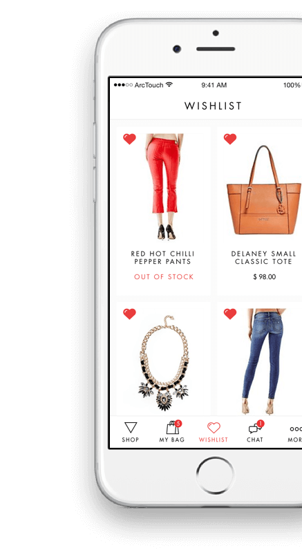 GUESS app on iPhone showing favorite items