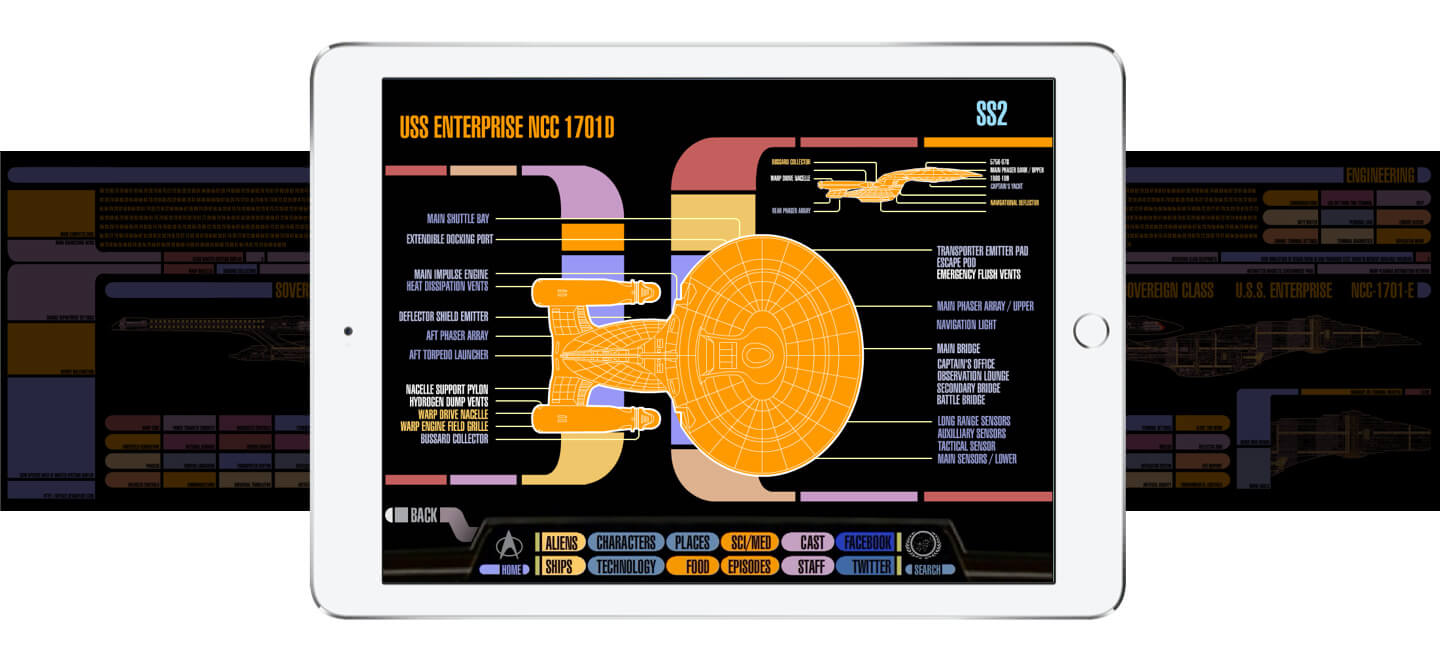 Screens from CBS Star Trek PADD app from ArcTouch