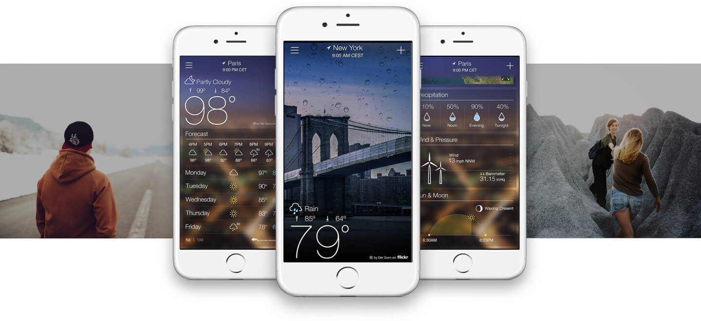 Screenshots of Yahoo Weather app developed by ArcTouch