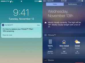 3M Filtrete Smart app push notifications