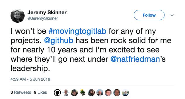 Microsoft Github acquisition positive Twitter reaction