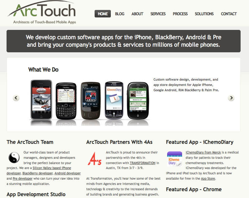 ArcTouch web site from 2009