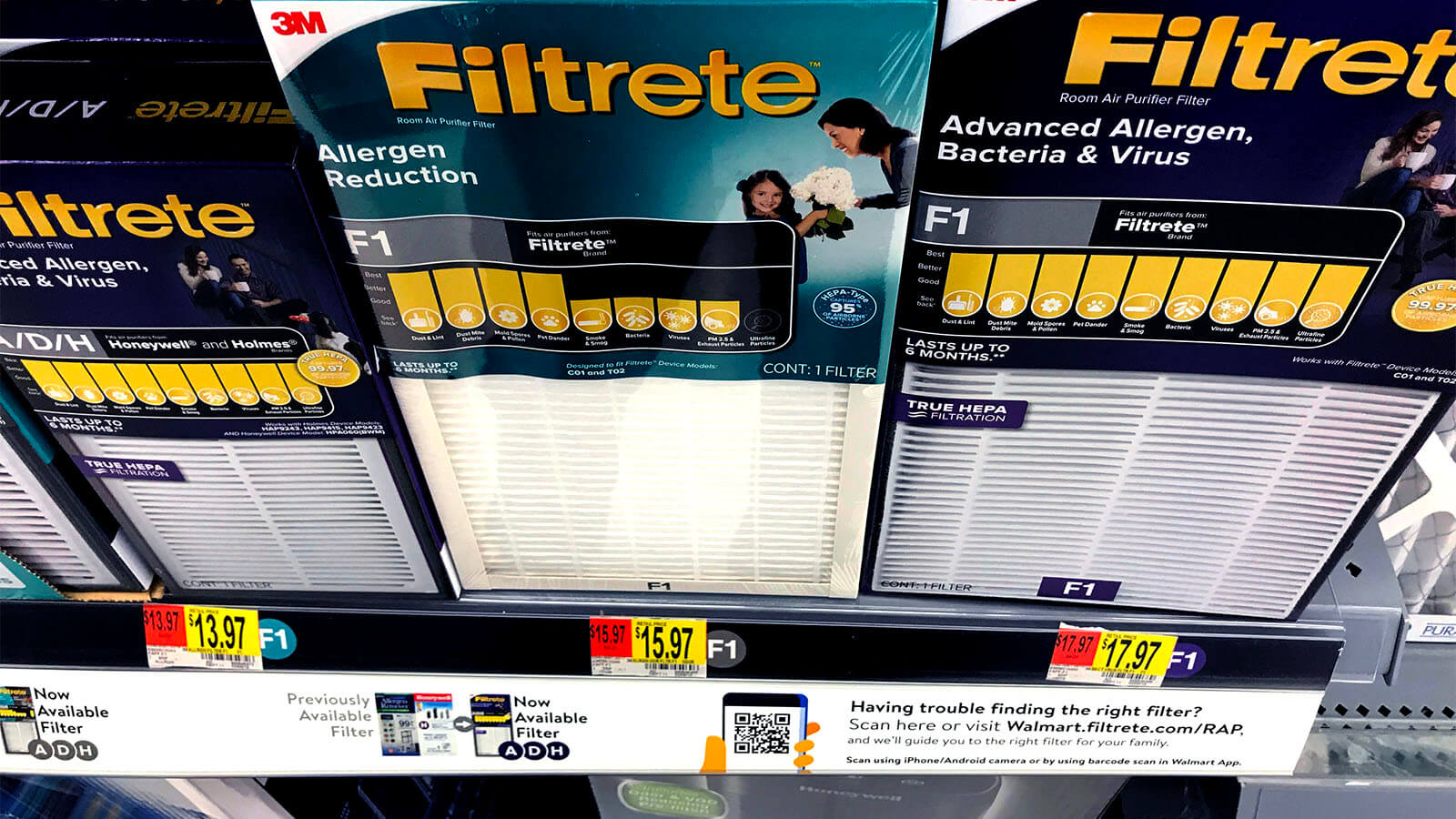 3M Filtrete filters on Walmart store shelf