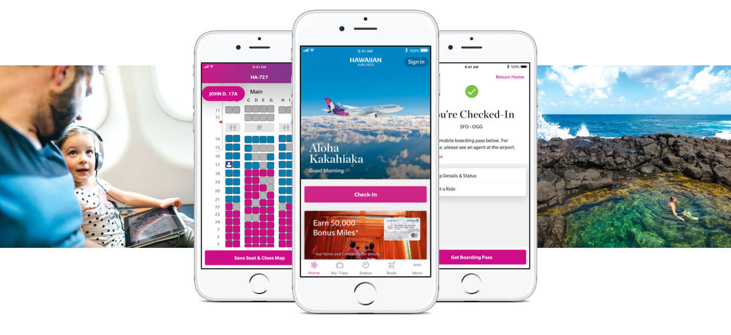 Hawaiian Airlines app screens with picture of travelers and the ocean