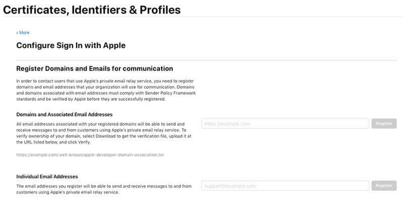 Sign In with Apple Certificates, Identifiers & Profiles settings
