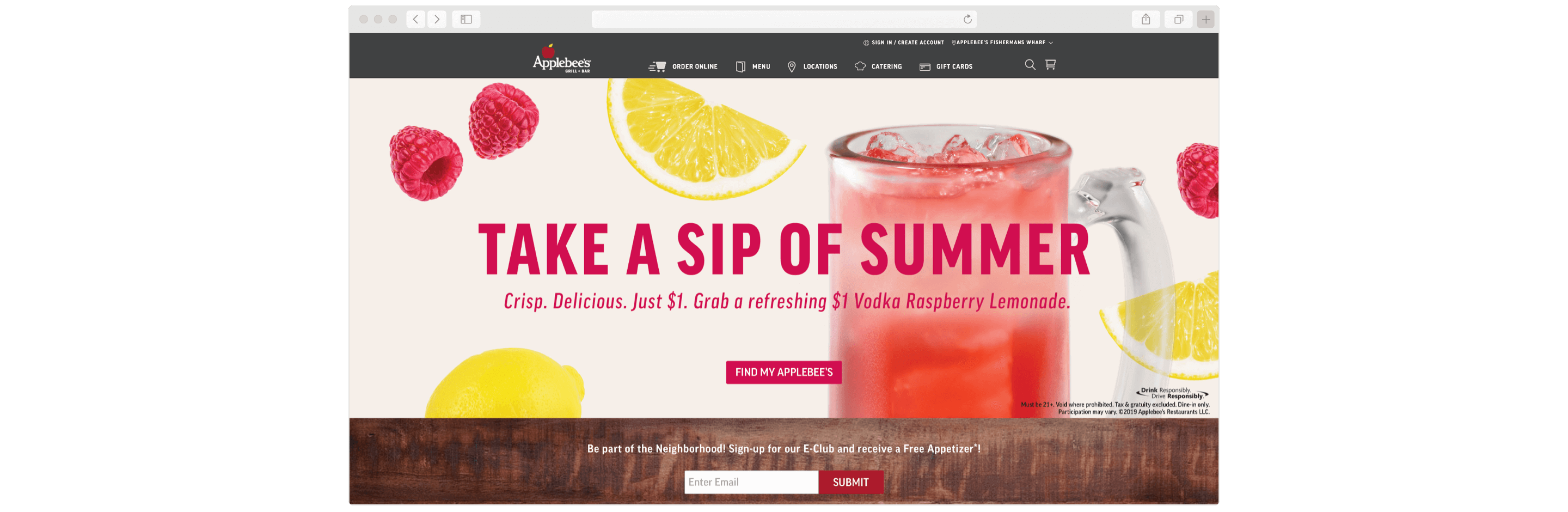 Glasses of lemonade on Applebee's web site by ArcTouch