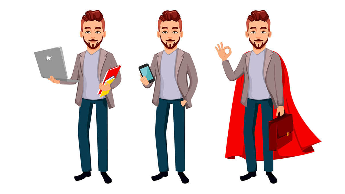 Illustrations of a man holding a laptop, holding a smartphone, and in a red superhero cape showing the OK sign.