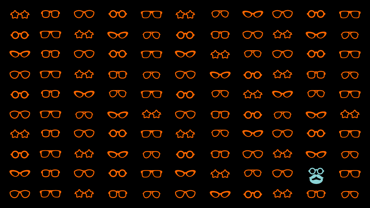 Rows of orange eye glasses on a black background sharing design critique best practices