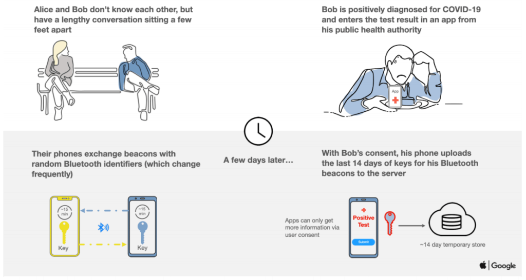 How contact tracing apps work with Apple/Google Exposure Notification APIs