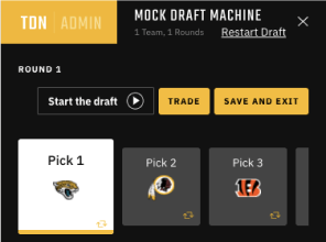 The Draft Network website Mock Draft Machine
