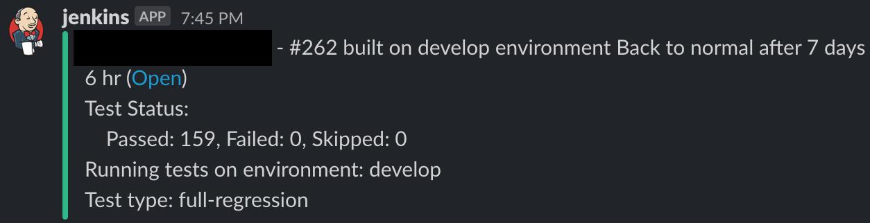Slack notification from the python test automation framework