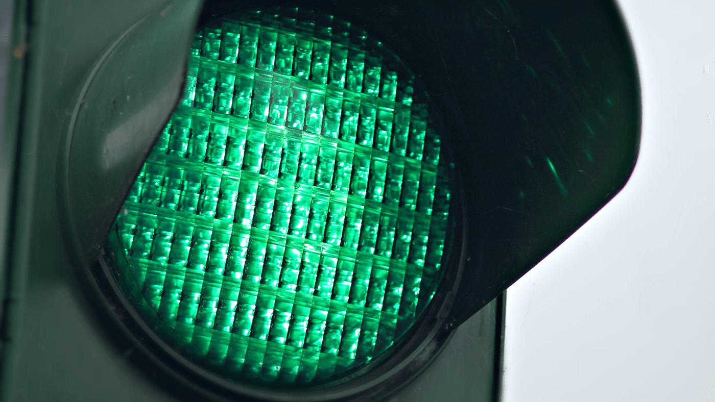 green traffic light for test-driven development test passing