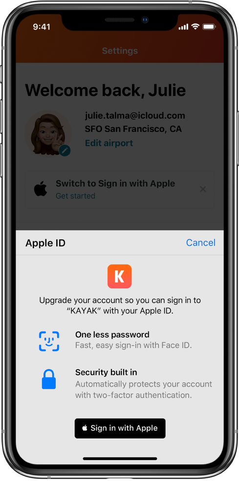 Sign In with Apple example with Kayak app