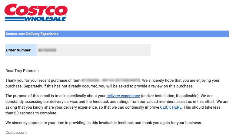 Costco delivery experience installation rating email