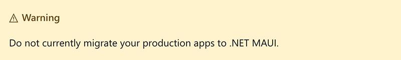 Xamarin.Forms .NET MAUI Migration Warning